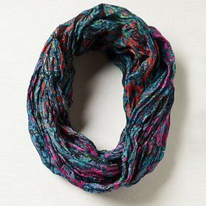 Anthropologie Silk Paisley Crinkle Infinity Scarf